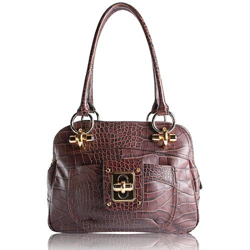 B. Makowsky Croco Embossed Glove Leather Zip Top Satchel Handbag
