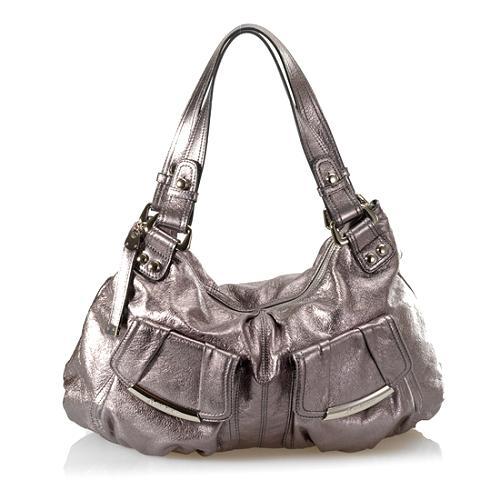 B. Makowsky Glove Leather Large Double Handle Pocket Satchel Handbag