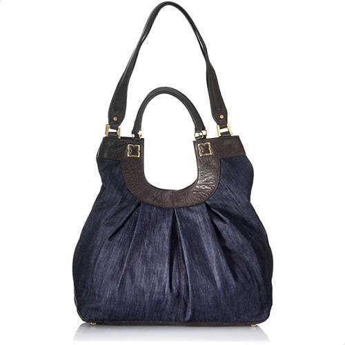BCBGMAXAZRIA Femme Fatale Denim Oversized Hobo Handbag