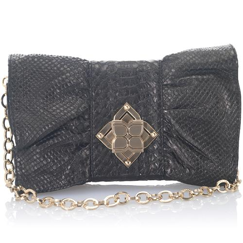 BCBGMAXAZRIA Python Embossed Leather Bow Clutch