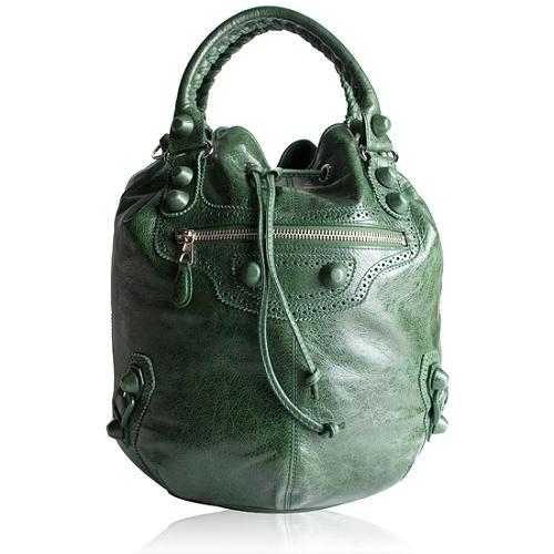 Balenciaga Arena Giant Covered Pompon Shoulder Handbag