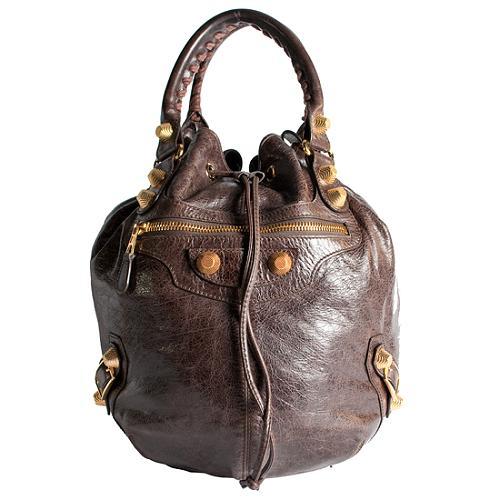 Balenciaga Arena Giant Pompom Shoulder Handbag