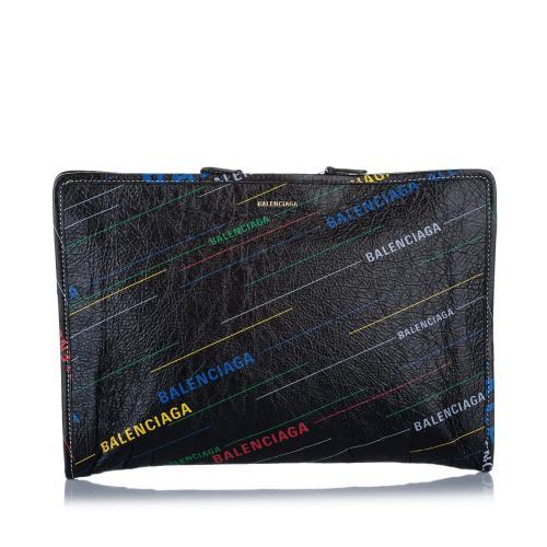 Balenciaga Bazar Logo Leather Clutch Bag