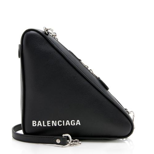 Balenciaga Calfskin Triangle Chain Shoulder Bag