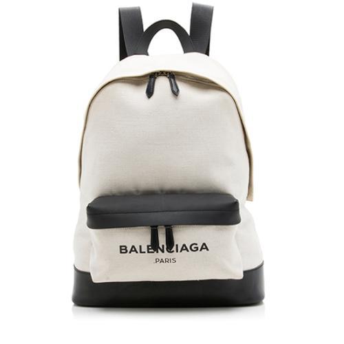 Balenciaga Canvas Leather Logo Backpack