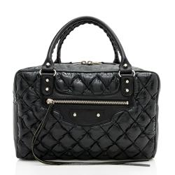 Balenciaga Chevre Quilted Matelasse Leather Boston Satchel