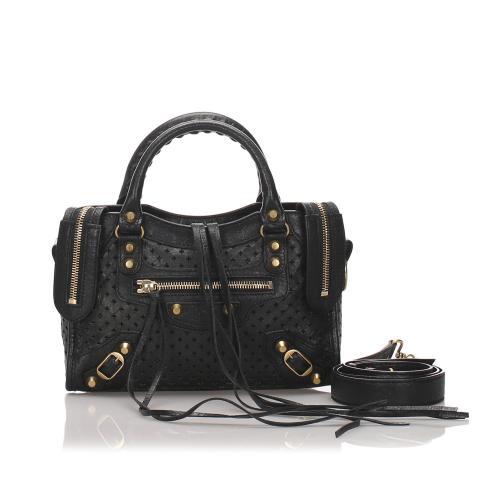 Balenciaga Perforated Leather Classic Mini City Satchel