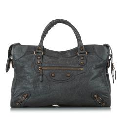 Balenciaga Large Motocross Classic City Leather Satchel