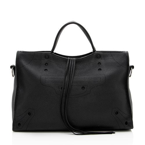 Balenciaga Leather Blackout City Satchel