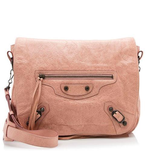 Balenciaga Leather Folk Messenger Bag