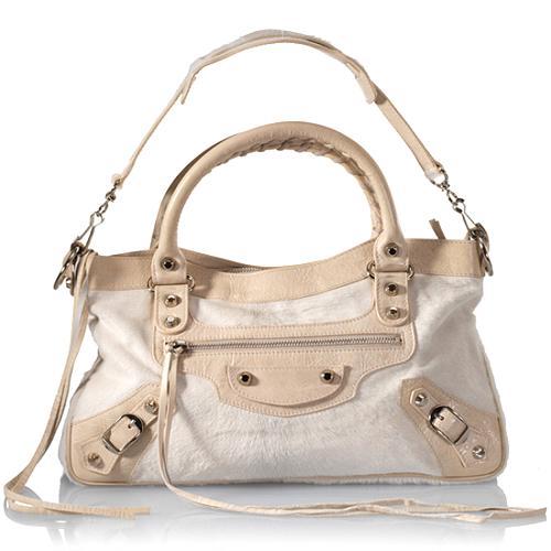 Balenciaga Limited Edition Bianco Pony Hair First Satchel Handbag