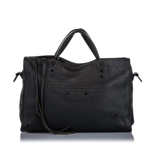 Balenciaga Leather Motocross Blackout City Satchel