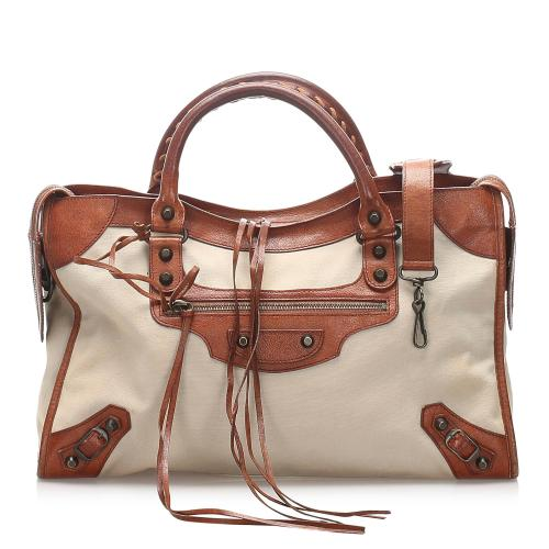Balenciaga Motocross Classic City Canvas Handbag