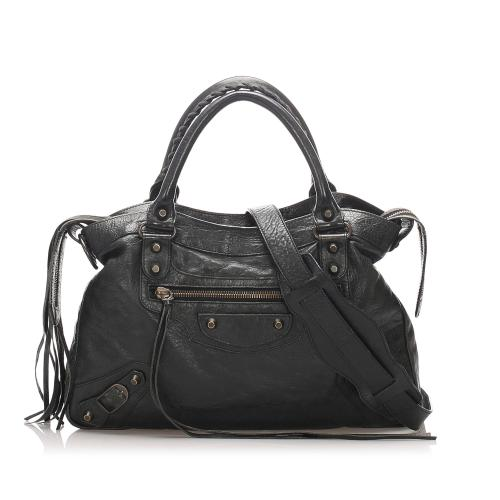 Balenciaga Motocross Classic Town Leather Satchel