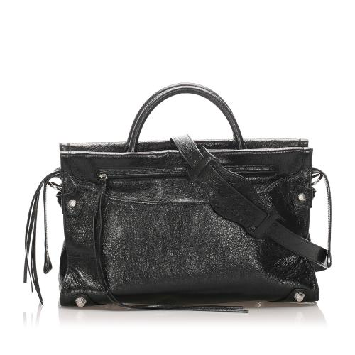 Balenciaga Mute City Giant Leather Satchel
