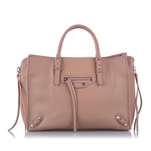 Balenciaga Leather Papier A6 Zip-Around Satchel