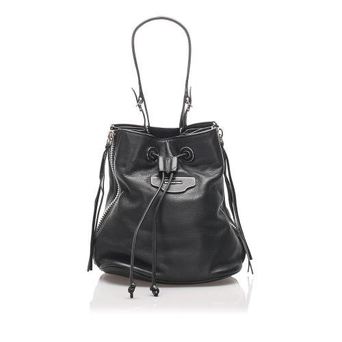 Balenciaga Leather Papier Plate Bucket Bag