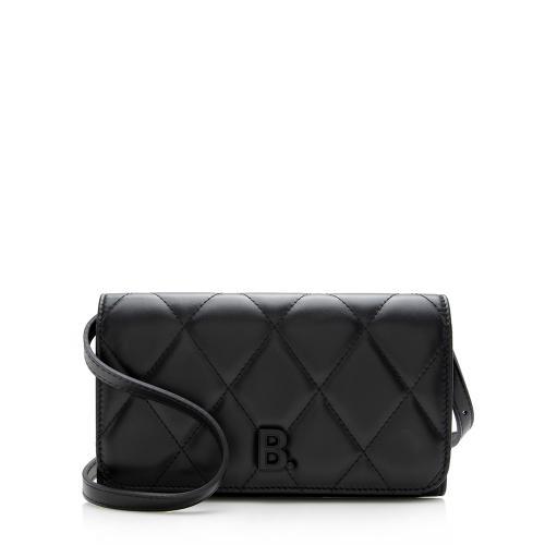 Balenciaga Quilted Calfskin B Phone Holder Crossbody Bag
