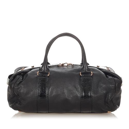 Balenciaga Whistle Lambskin Leather Boston Bag