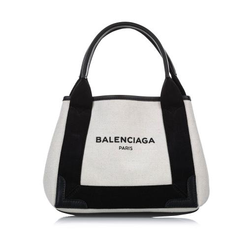 Balenciaga XS Navy Cabas Canvas Tote Bag
