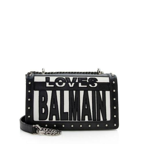 Balmain Leather Love Balmain Cutout Shoulder Bag