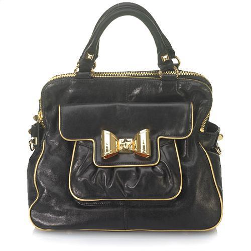 Betsey Johnson Bow Lock Satchel Handbag