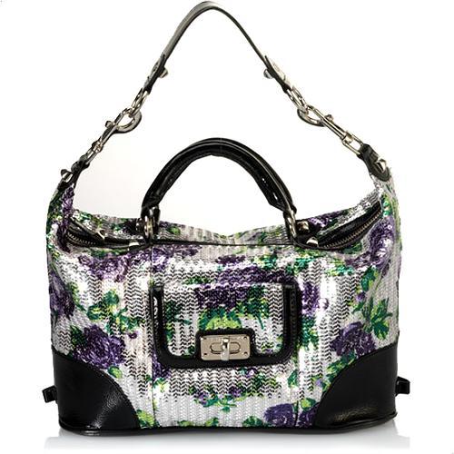 Betsey Johnson Glitzy Floral Satchel Handbag