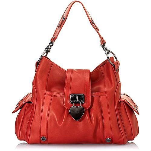 Betsey Johnson Locked in Large Leather Hobo Handbag