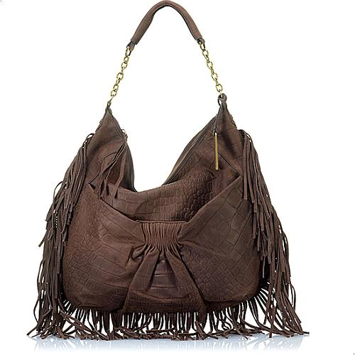 Botkier Angie Calfskin Leather Fringe Hobo Handbag