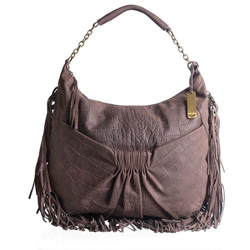 Botkier Angie Calfskin Leather Fringe Hobo Handbag