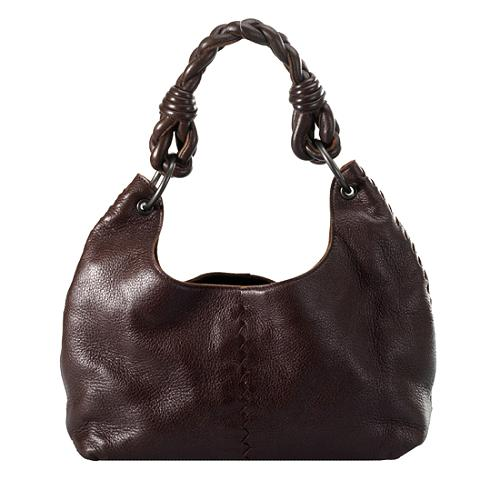 Bottega Veneta Leather Interacciato Shoulder Handbag