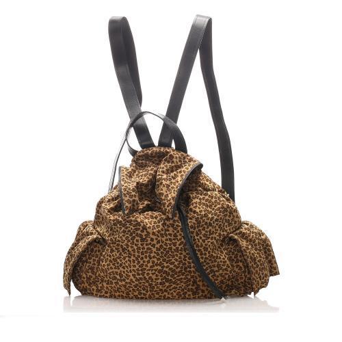 Bottega Veneta Nylon Leopard Print Backpack