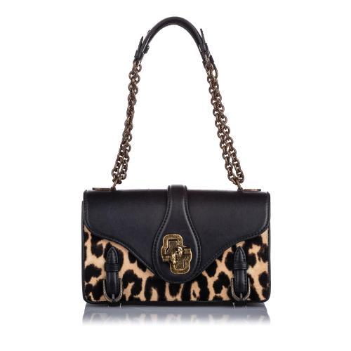 Bottega Veneta Leopard Pony Hair City Knot Shoulder Bag