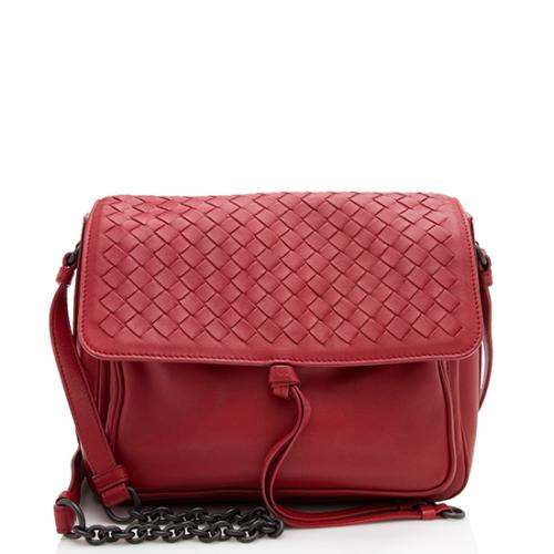 Bottega Veneta Intrecciato Trimmed Nappa Flap Crossbody Bag