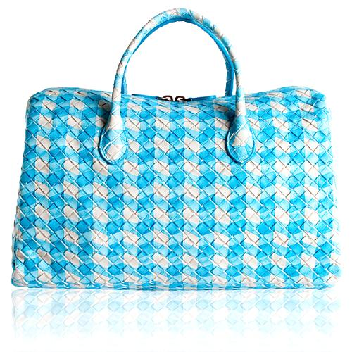 Bottega Veneta Printed Plaid Boston Satchel Handbag