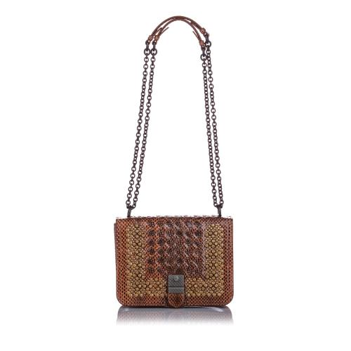 Bottega Veneta Studded Snakeskin Intrecciato Crossbody Bag