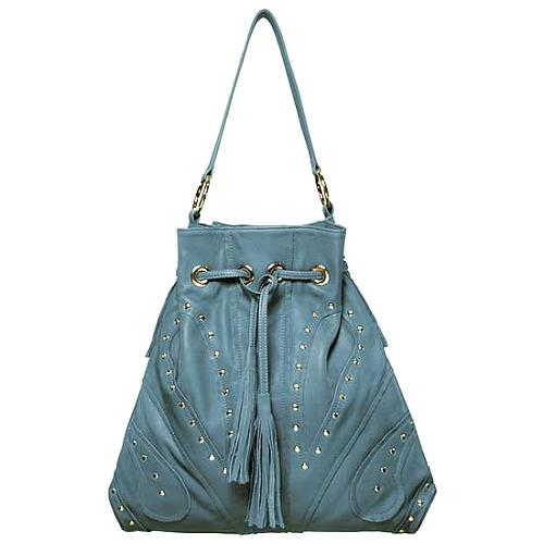 Bulga Large Studded Hobo Handbag