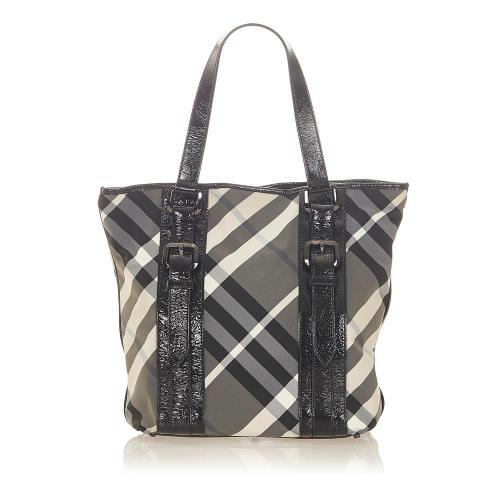 Burberry Beat Check Nylon Victoria Tote Bag