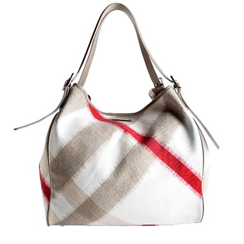 Burberry Canvas Large IKat With Removable Pouch Tote