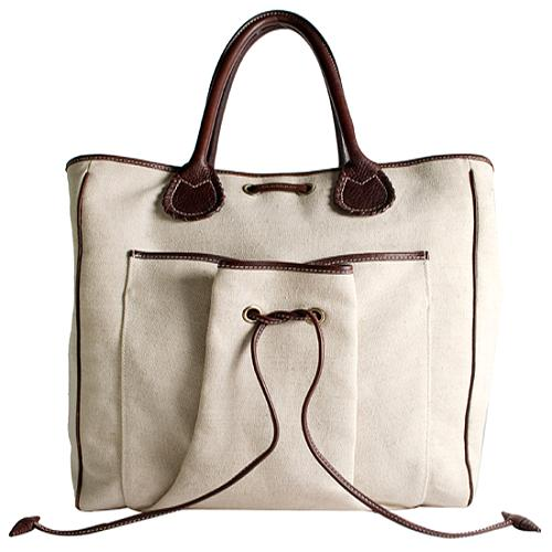 Burberry Canvas Leather Trim Tote