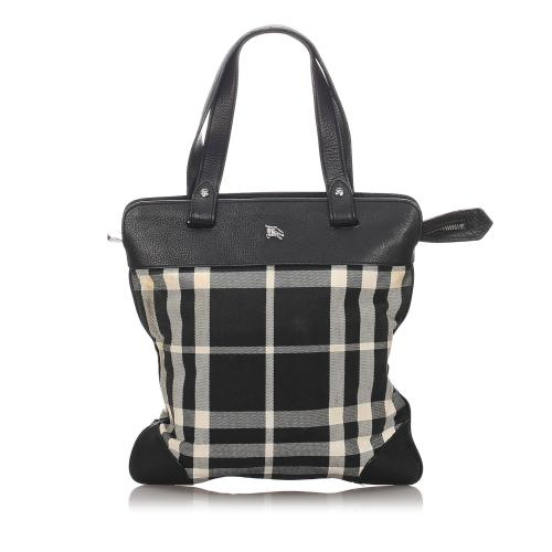 Burberry Check Canvas Tote Bag