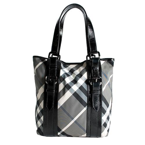 Burberry Check Nylon Tote