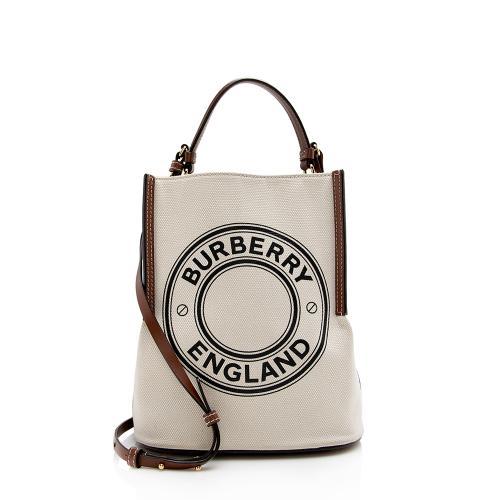 Burberry Cotton Canvas Peggy Logo Bucket Bag