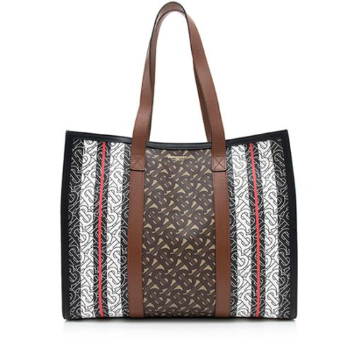 Burberry E-Canvas Leather Monogram Stripe Small Tote