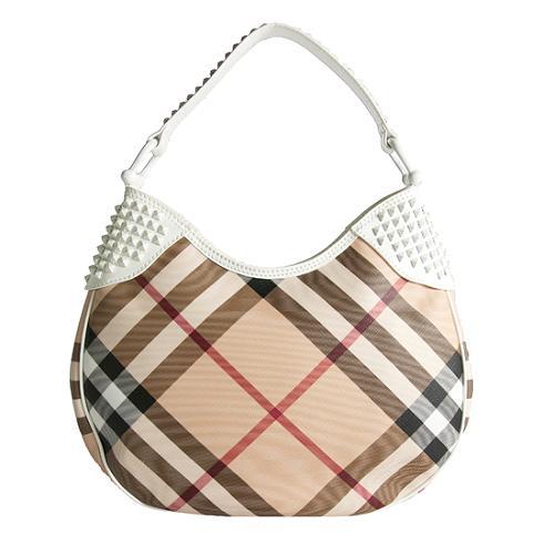 Burberry Elly Plaid and White Hobo Handbag