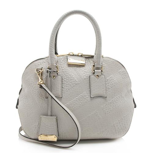 Burberry Embossed Check Leather Orchard Small Satchel