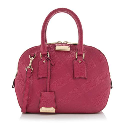 8081692f4312 Burberry-Embossed-Check-Leather-Orchard -Small-Satchel- 97405 front large 1.jpg