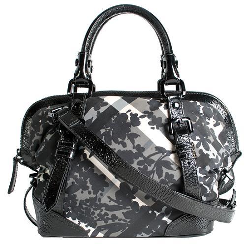 Burberry Floral Check Satchel Handbag