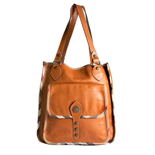 Burberry Front Pocket Leather Tote