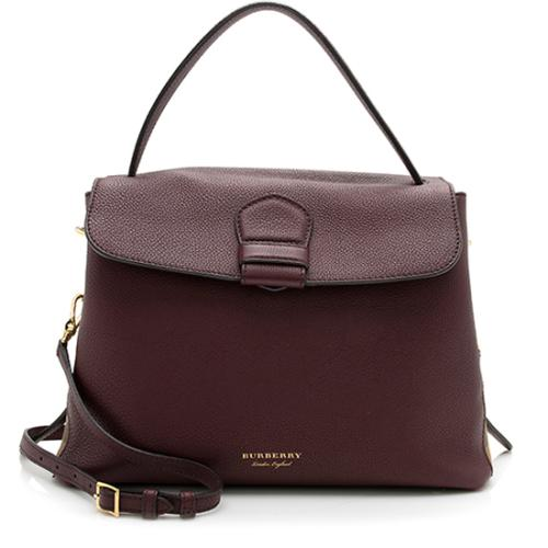 Burberry Grained Leather Camberly Top Handle Convertible Satchel